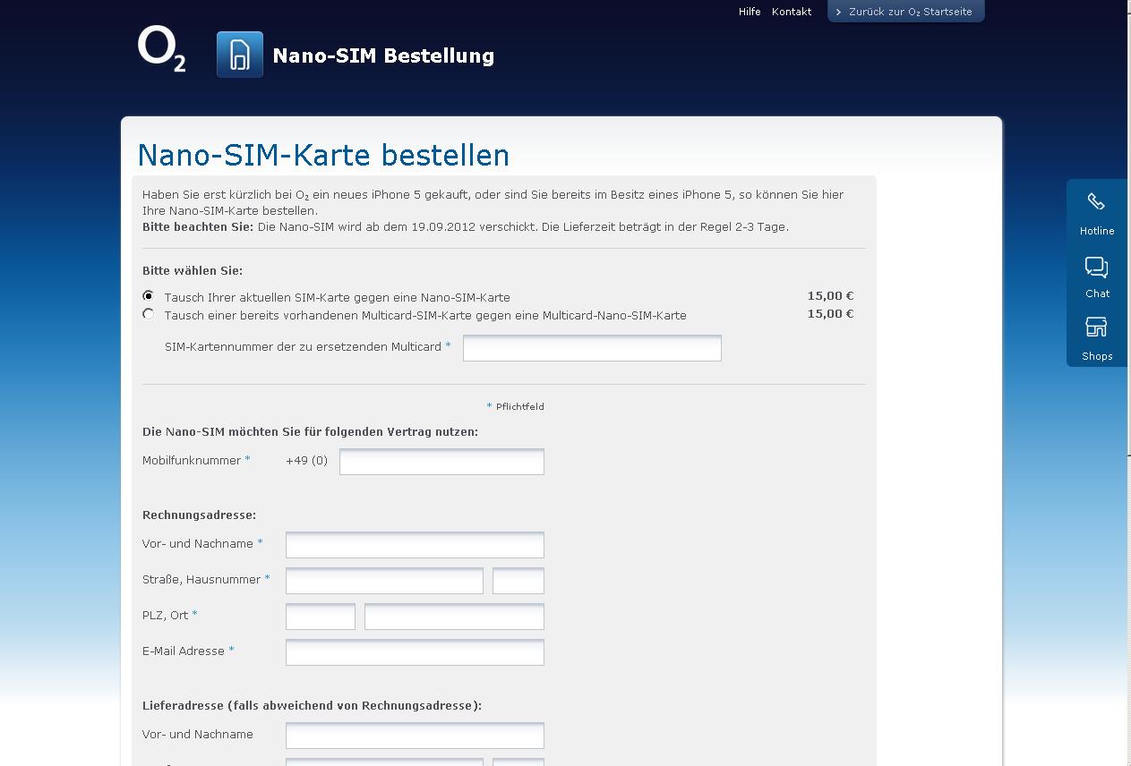 nano sim karte bestellen Nano SIM Karte bei o2 bestellen › seeseekey.net