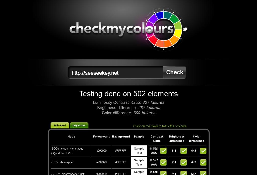 Check My Colours beim testen von seeseeekey.net