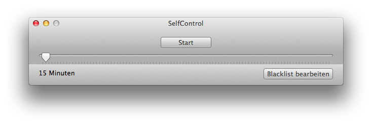 SelfControl nach dem Start
