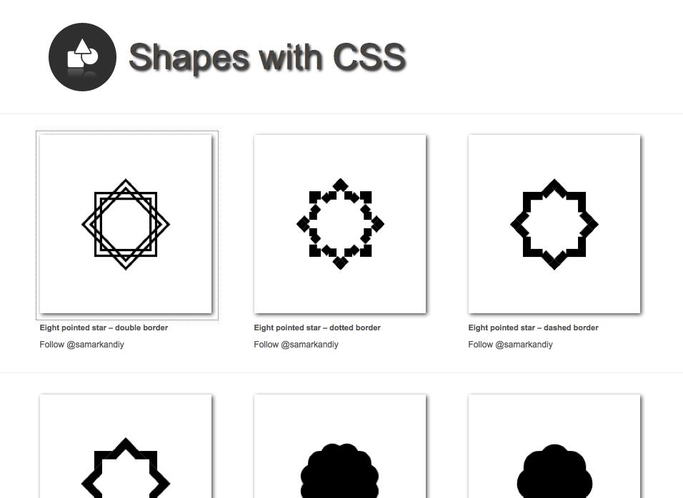 """Die Hauptseite von """"Shapes with CSS"""""""