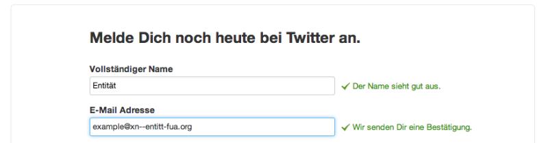 Mit der Punycode Umschreibung funktioniert es auch mit Twitter