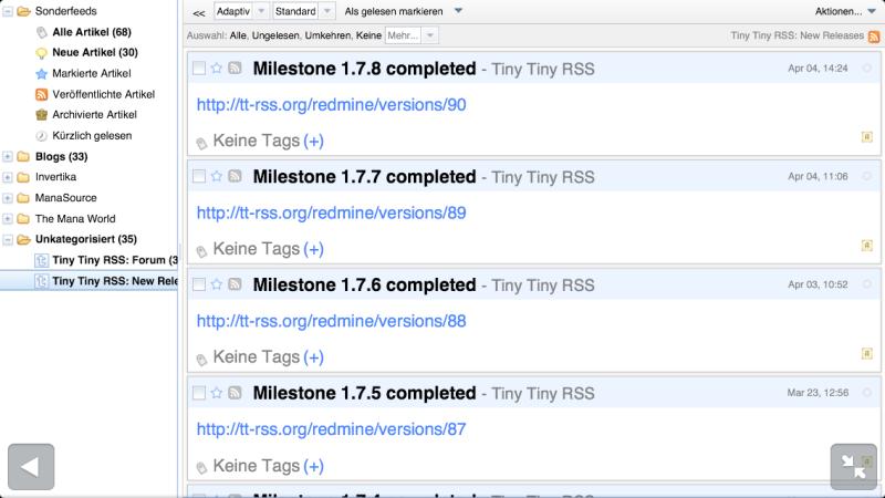 Die Mobilansicht von Tiny Tiny RSS