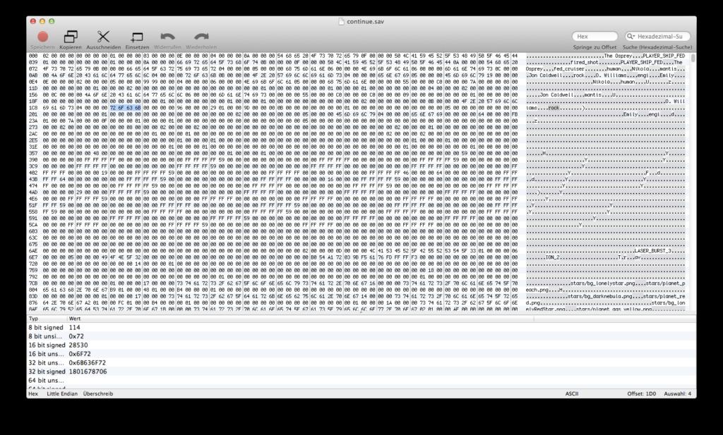 0xED mit geöffneter Datei