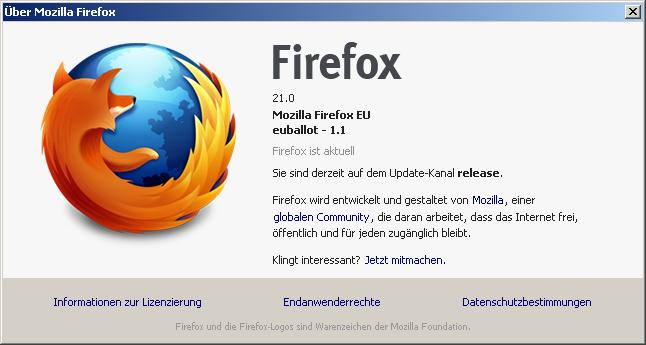 """Die """"euballot"""" Version von FIrefox"""
