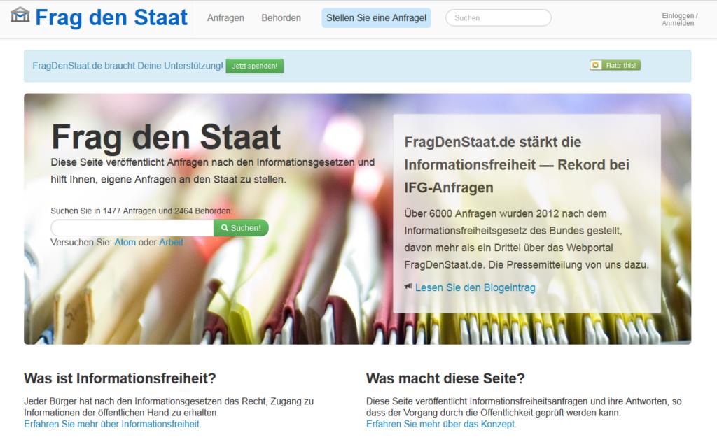 """Das Portal """"Frag den Staat"""""""