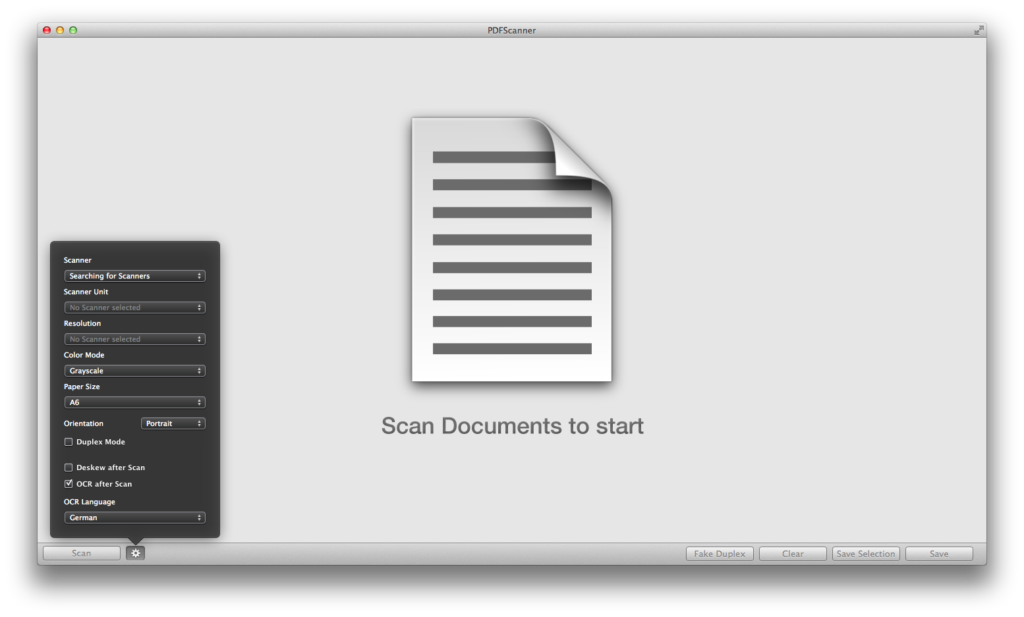 PDFScanner mit geöffneten Scanoptionen