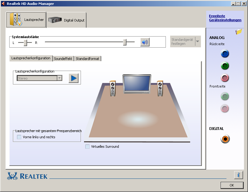 Der Realtek HD Audio-Manager