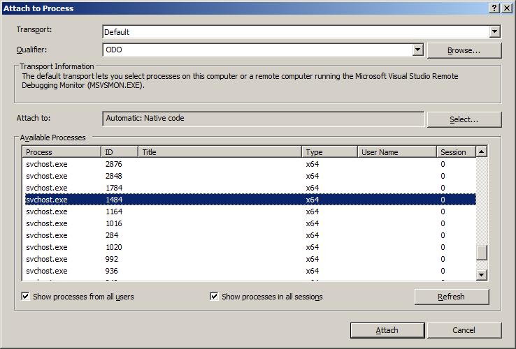 Das Attach to Process Fenster