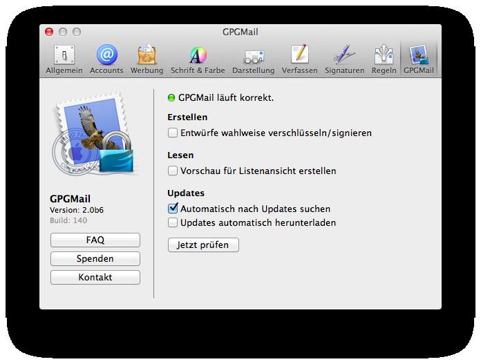 GPGMail integriert in die Einstellungen von Apple Mail