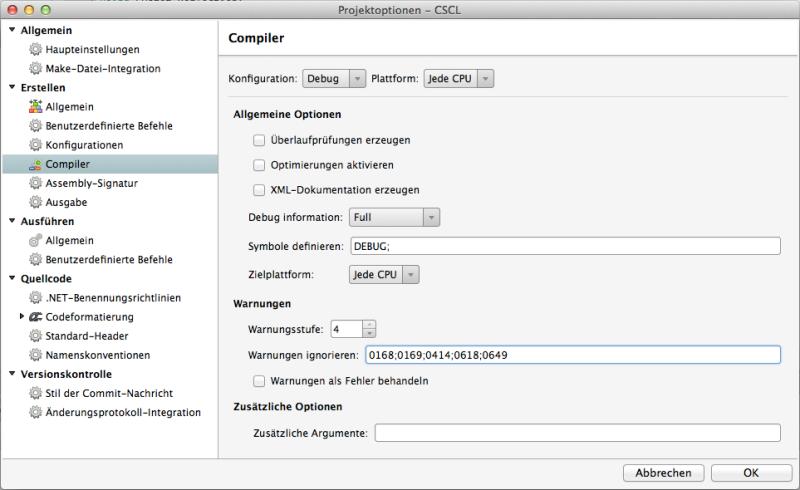 Die Compiler Optionen
