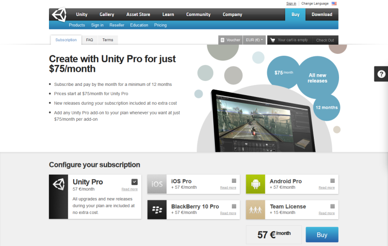 Die Unity Subskriptionsseite