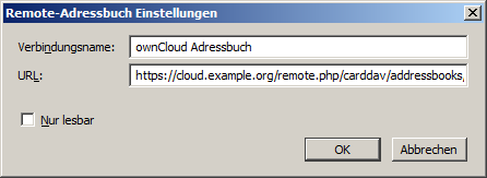 """Der """"Remote-Adressbuch"""" Dialog"""