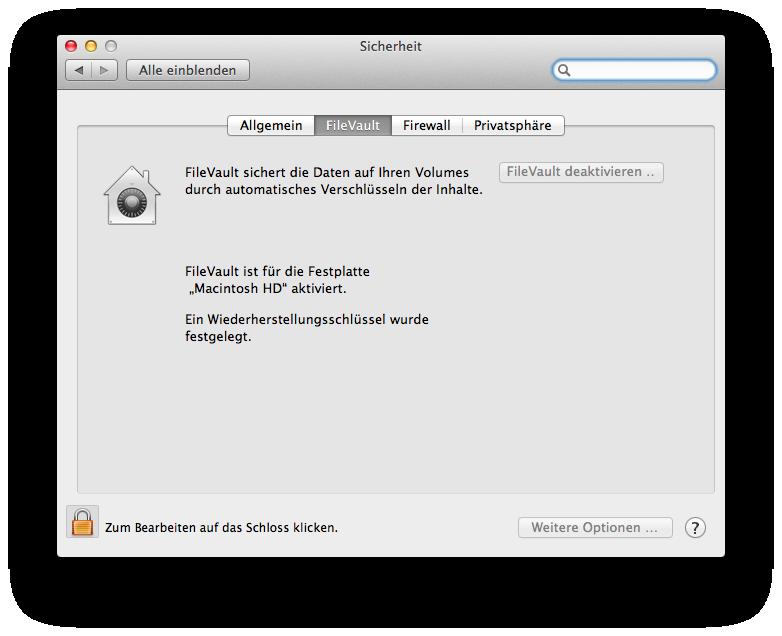 FileVault muss für das Update deaktiviert werden