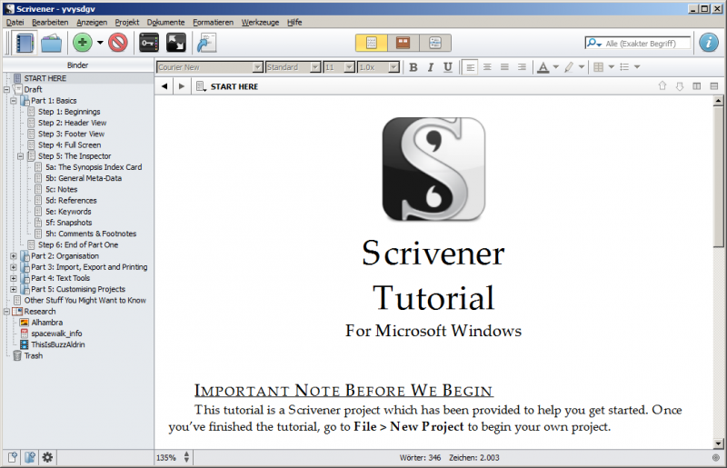 Die Windowsversion von Scrivener