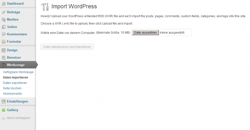 Der WordPress Importer