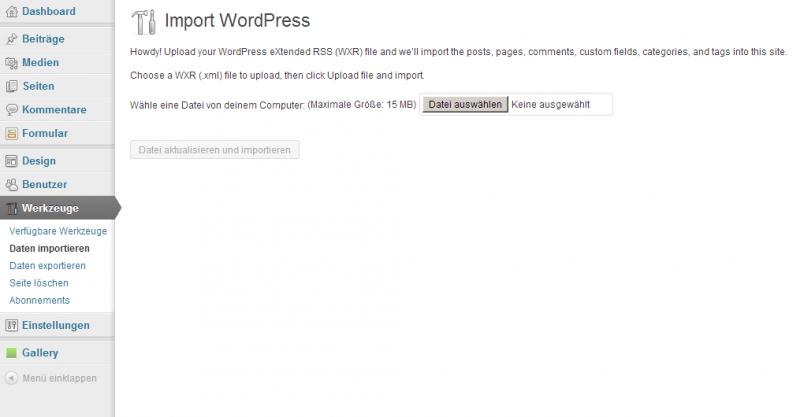 Der WordPress Importer