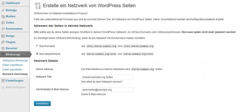Die Netzwerk-Einrichtung unter WordPress