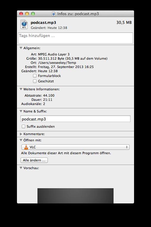 Die Dateiinformationen unter Mac OS X