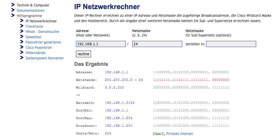 Der IP Netzwerkrechner von trinler.net