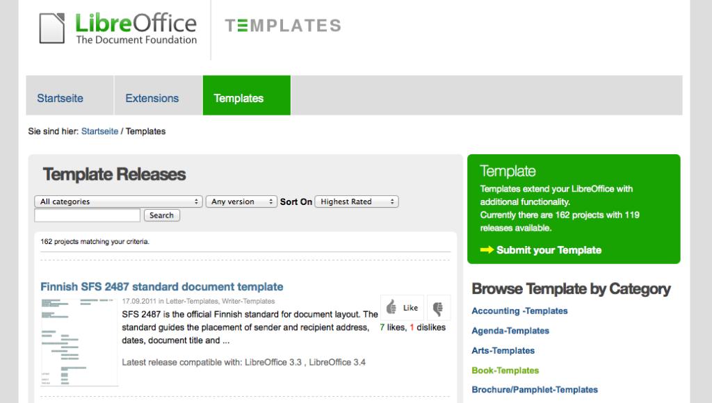 Die LibreOffice Template-Seite