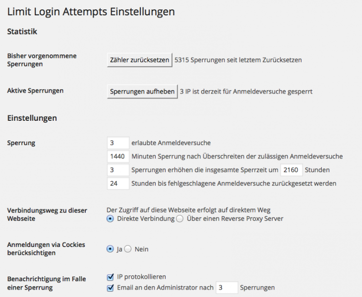Die Einstellungen des Plugins Limit Login Attempts