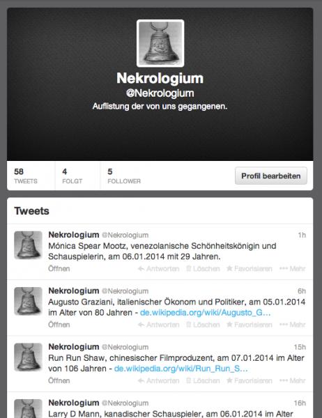 Nekrologium auf Twitter