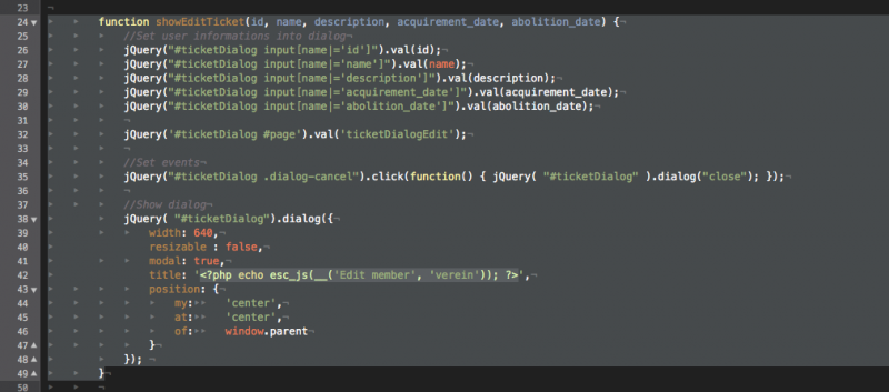 Ein selektierter Block im TextMate Editor