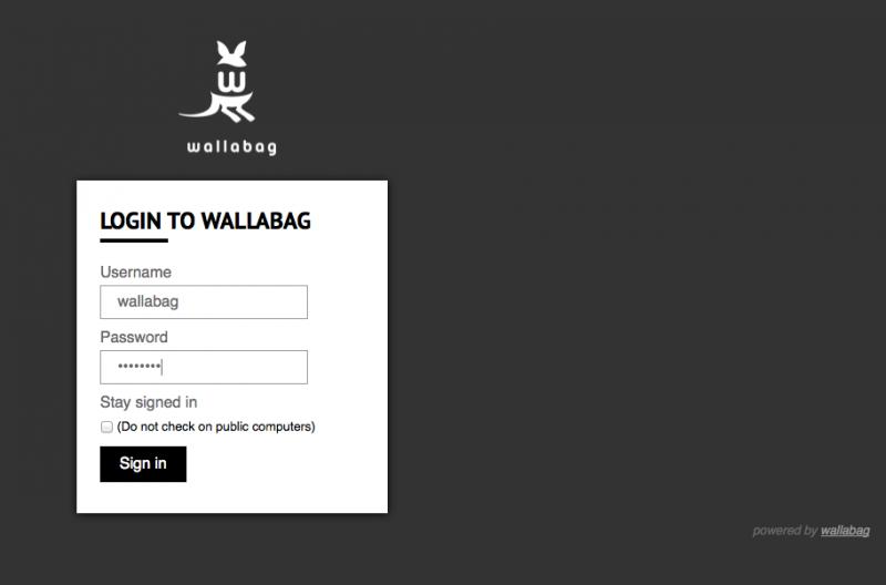 Die Login-Seite von wallabag