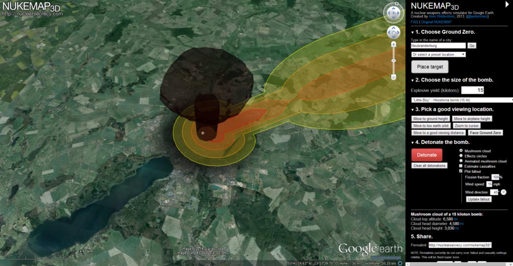 Die Auswirkung einer Bombe des Hiroshima-Typs auf Neubrandenburg
