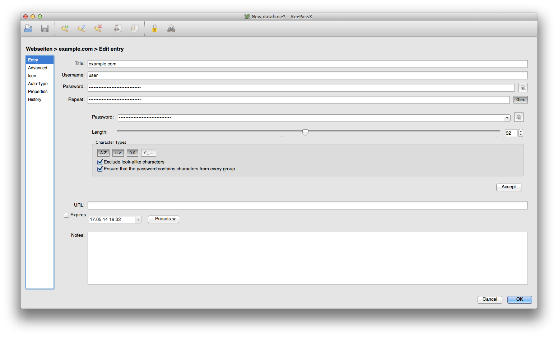 KeyPassX bei der Anzeige eines Passwortes