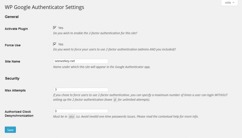"Die Einstellungen des ""Google Authenticator for WordPress"""