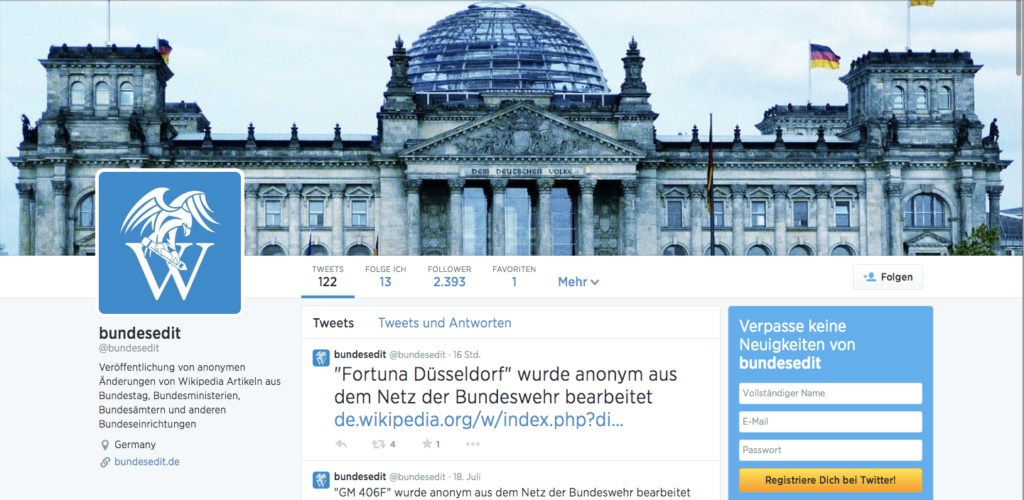 Der Bundesedit Twitter-Account