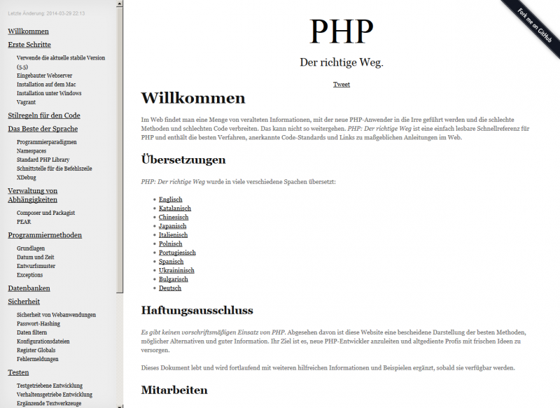Die deutsche Version von PHP - The Right Way.