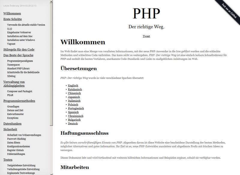 Die deutsche Version von PHP - The Right Way.