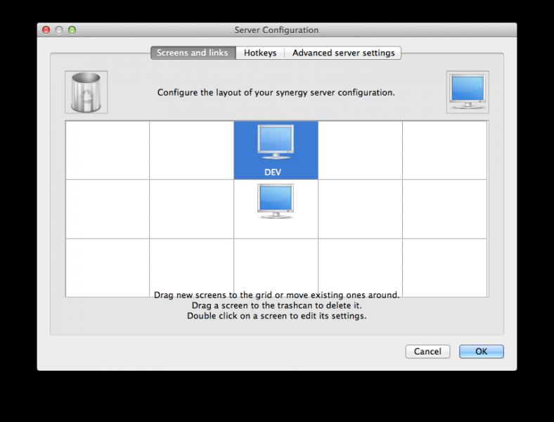 Der Konfigurationsbildschirm von Synergy