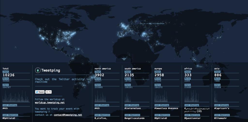 Tweetping mit Weltkarte und Infofenster