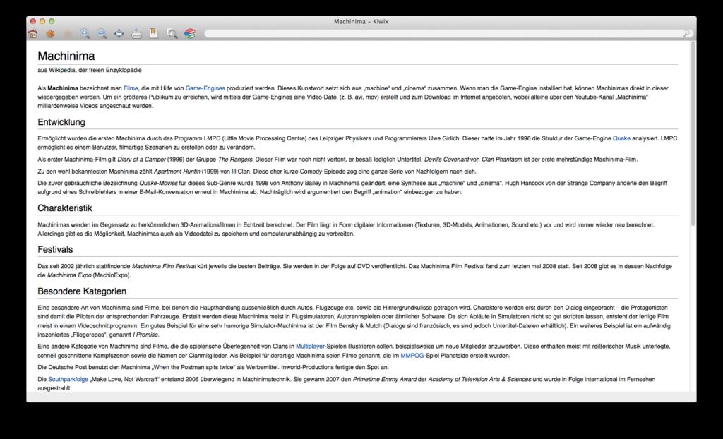 Kiwix mit der deutschen Wikipedia unter Mac OS X