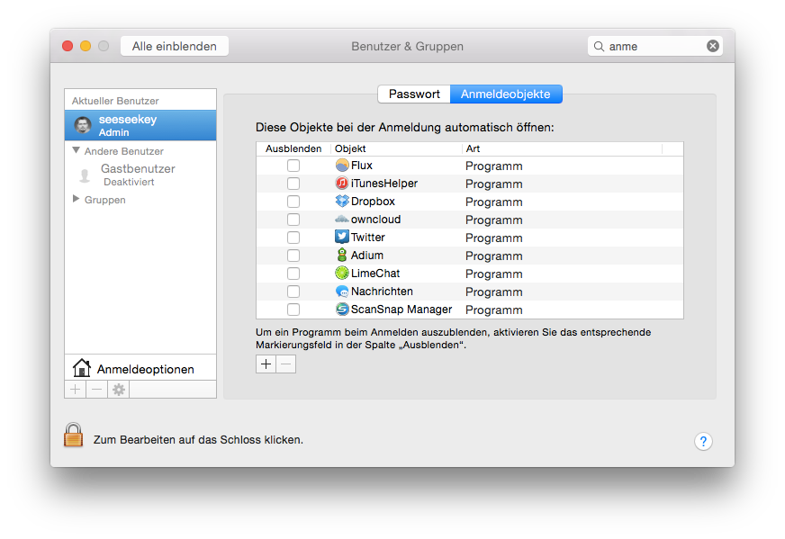 Die Anmeldeobjekte unter Mac OS X
