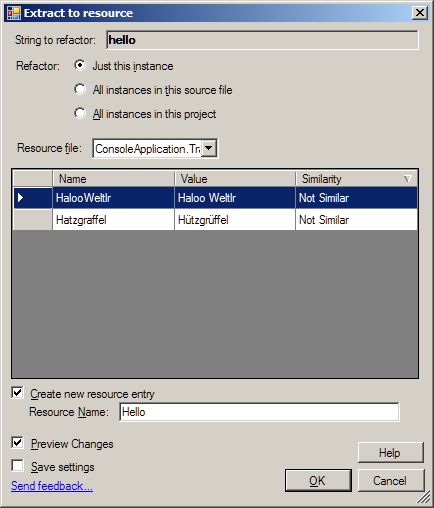 Das Resource Refactoring Tool im Visual Studio 2013