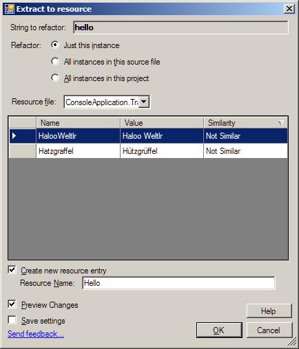 Das Resource Refactoring Tool im Visual Studio 2013