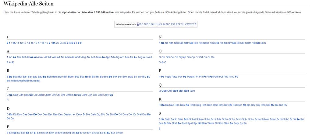 Die Übersichtsseite für alle Seiten in der Wikipedia