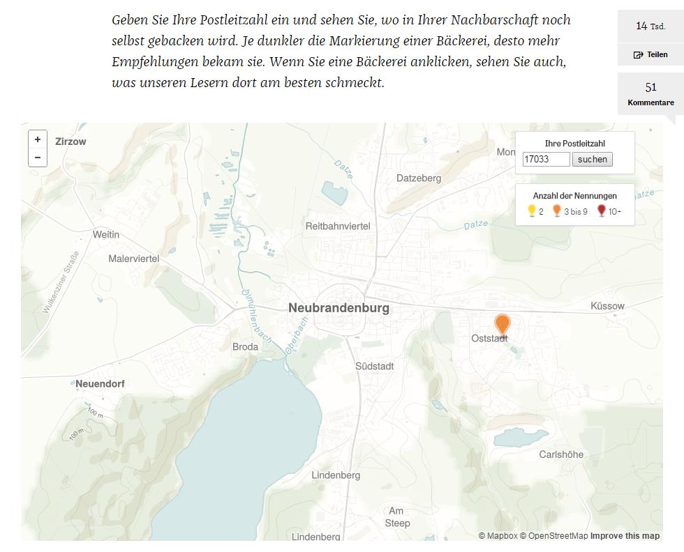 Die Bäckerei-Karte auf Zeit Online
