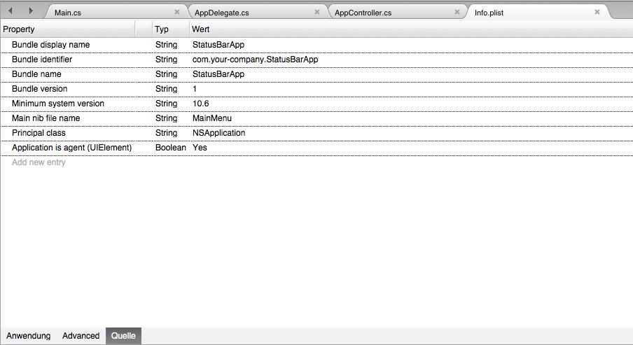 Der neue Schlüssel wird mit dem PList-Editor des Xamarin Studios hinzugefügt