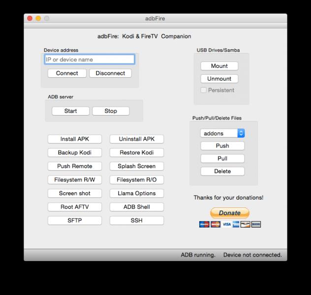 adbFire in der Mac OS X Version