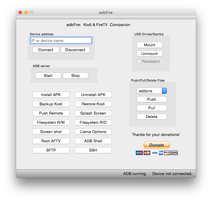 adbFire in der Mac OS X Version