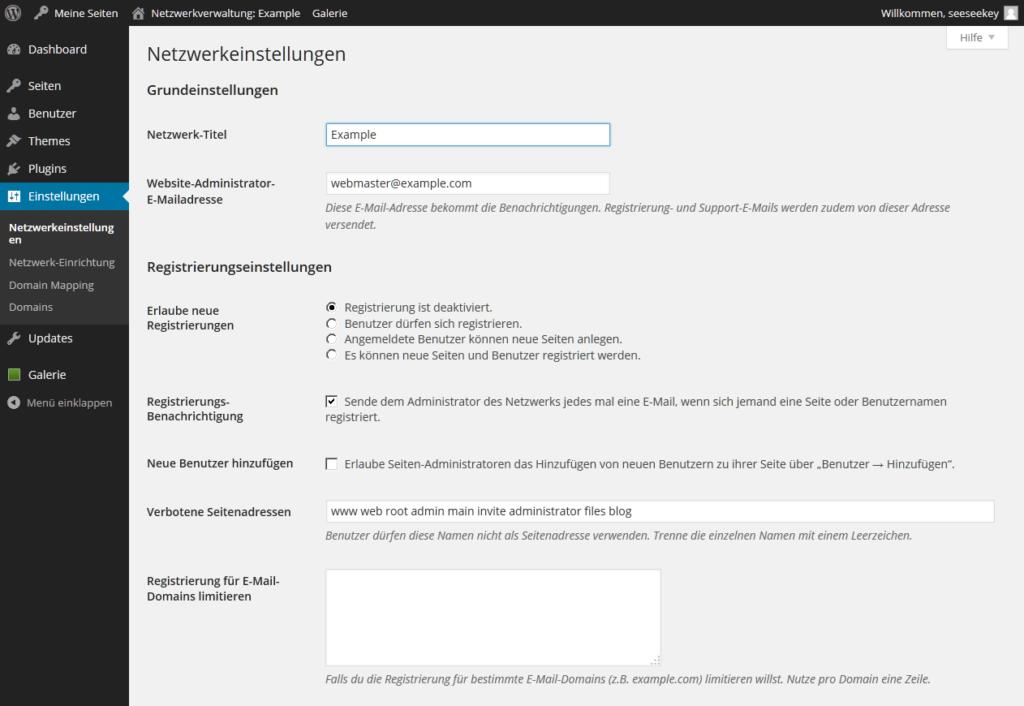 Die Netzwerkeinstellungen einer WordPress Multisite Installation