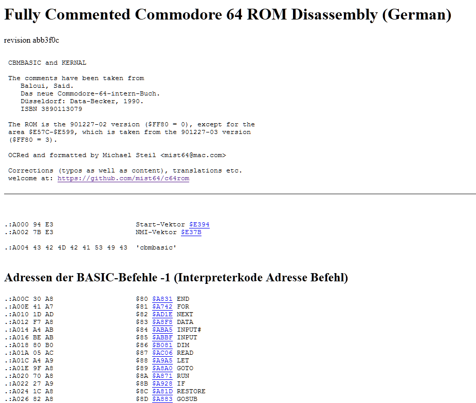 Das kommentierte ROM in der HTML Version