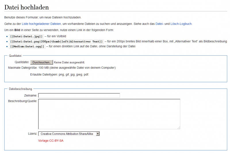 Die Upload-Seite einer MediaWiki-Installation