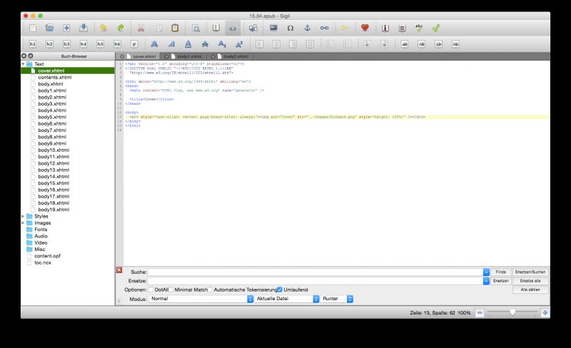 Sigil mit einer geöffneten ePub-Datei