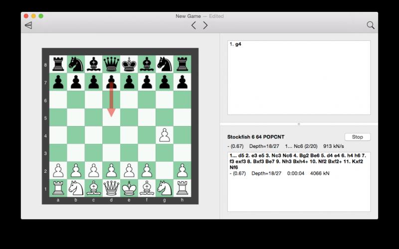 Die Stockfish-App unter Mac OS X
